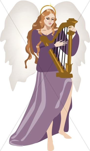 Angel with Harp Clipart