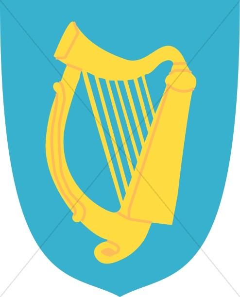 Golden Harp on Blue Shield