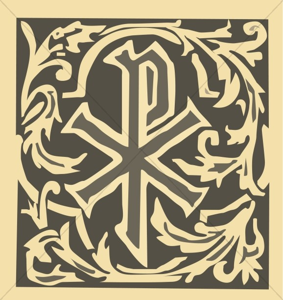 Ornate Chi Rho Christian Symbols