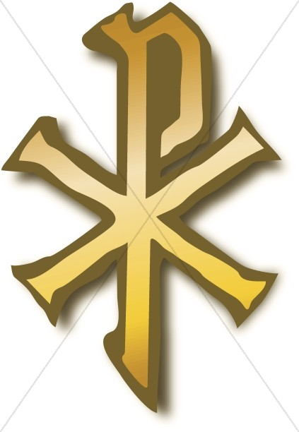 Gold Chi Rho Christian Symbols