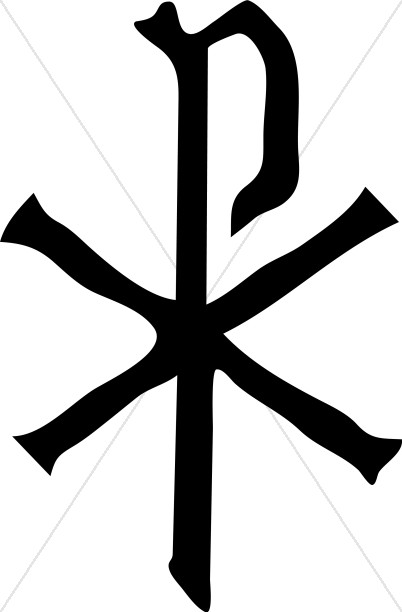 Black Chi Rho Christian Symbols
