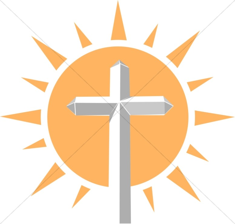 Sun Beams Behind a White Cross