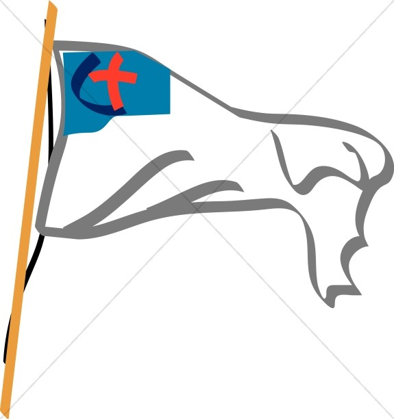 Waving Christian Flag with Pole