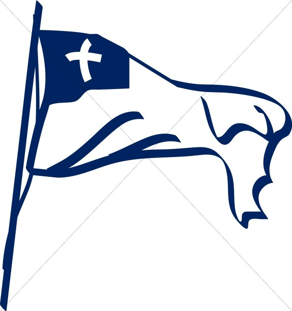 Blue and White Christian Flag with Cross