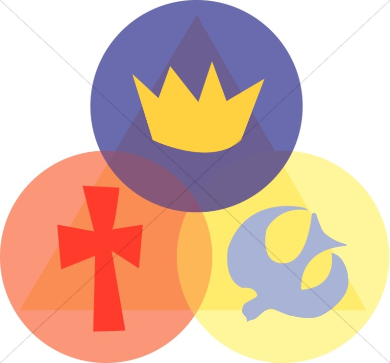 Trinity with Crown, Cross, and Dove (pointing up)