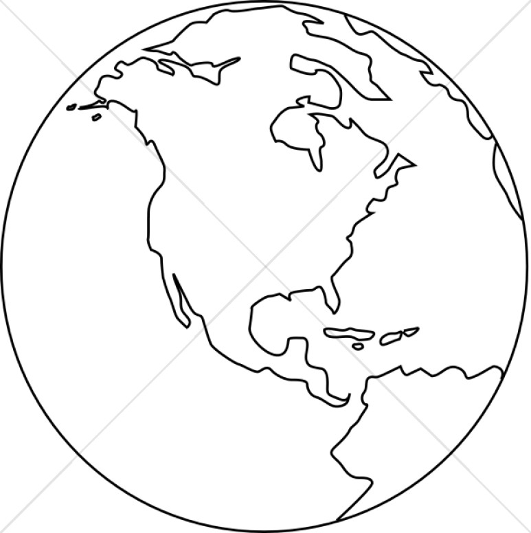 Line Art Globe Black And White