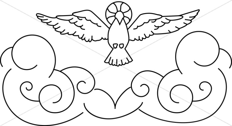 Line Art Dove with Halo and Stylized Clouds