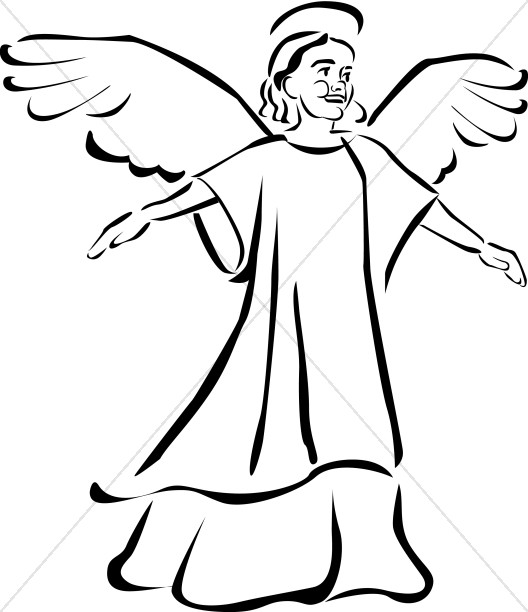 Cherub Clipart Black and White | Angel Clipart