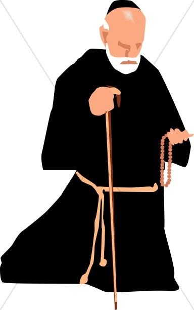 Catholic Monk with Rosary