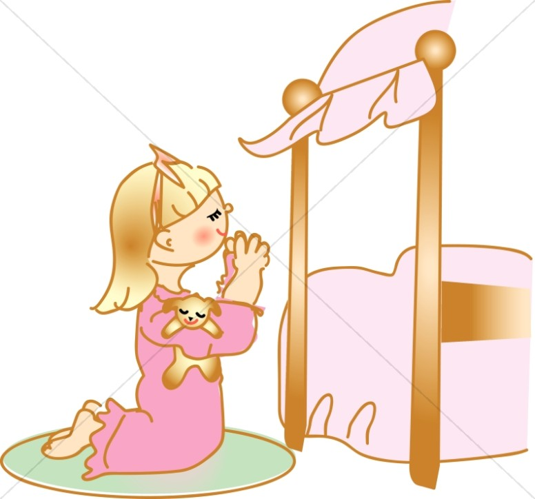 Praying Girl in Nightgown at Bedside
