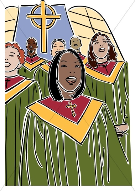 Choir Singers in Green Robes