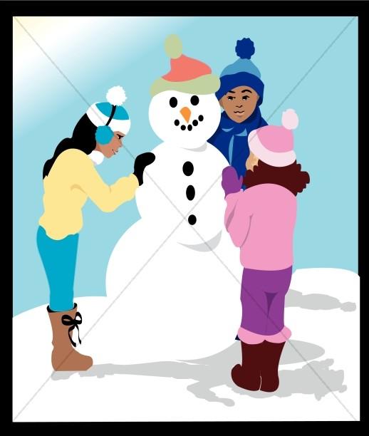Three Kids Building a Snowman