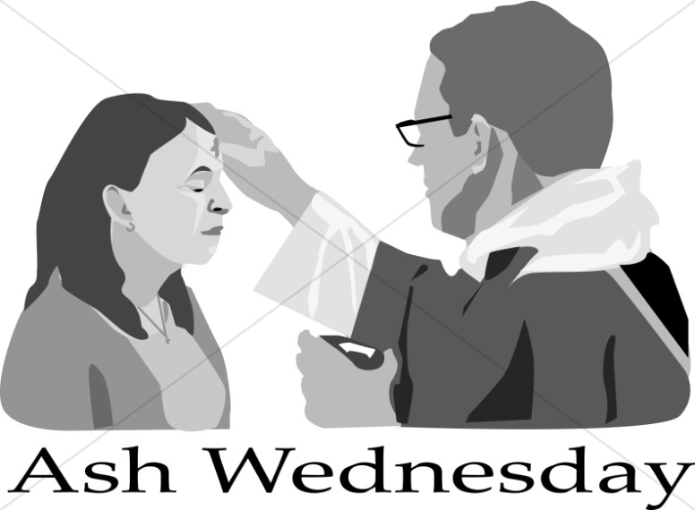 Ash Wednesday with Priest and Woman