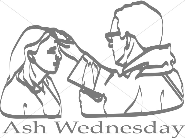 Ash Wednesday with priest and Woman Lineart