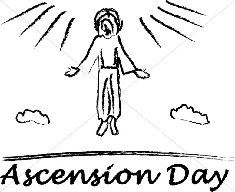 Brushstroke Rising Jesus with Ascension Day Script