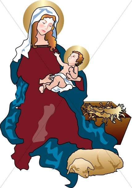 Baby Jesus Reaches up to Mary