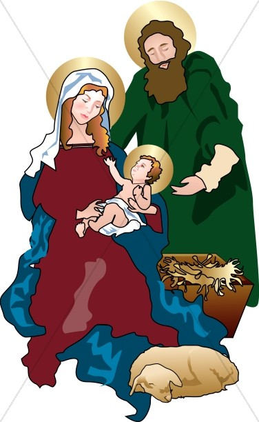 Nativity holy family. In the stable manger