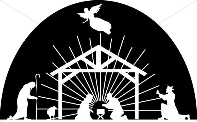 Nativity Scene White Silhouette