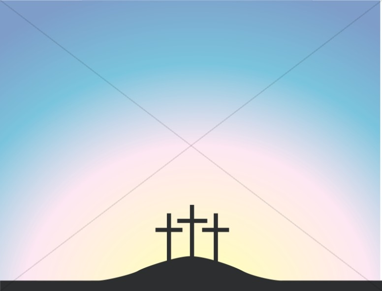 Simple Calvary Crosses at Dusk