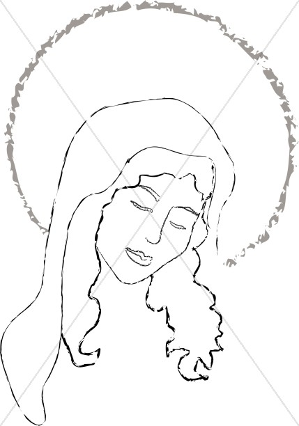 The Face of Mary in a Halo