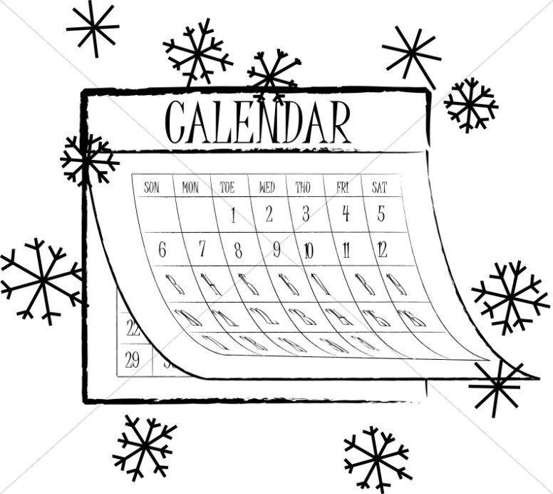 Black and White Snowflake Calendar