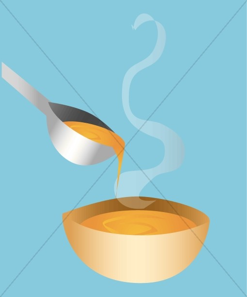Soup Serving Image on Blue