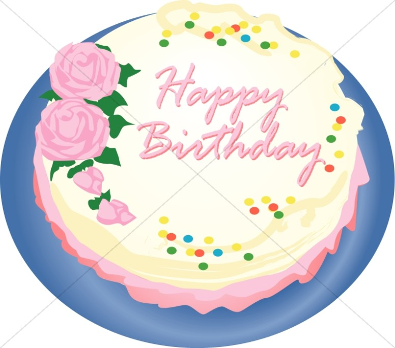 Birthday Cake with Roses Clipart