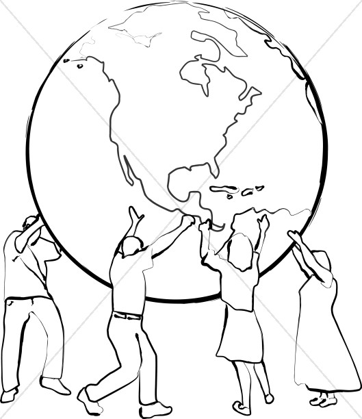 Supporting the Earth   Line Art