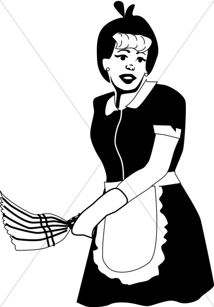 Old Fashioned Maid with Duster