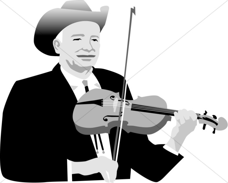 Black and White Country Fiddle Player