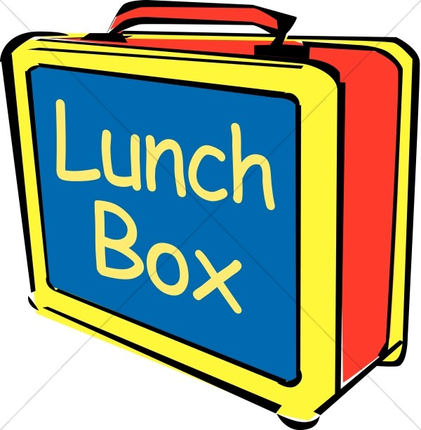 big bright lunch box with words childrens church clipart