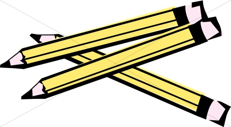 Three Wooden Pencils Christian Classroom Clipart