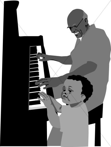 Boy and Grandpa at the Piano