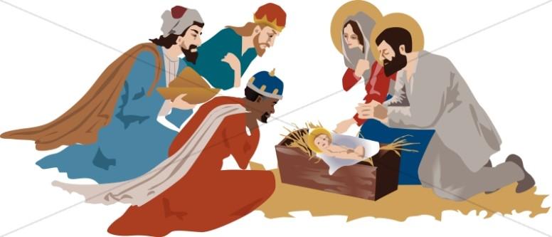 Nativity Scene with Three Magi | Manger Clipart