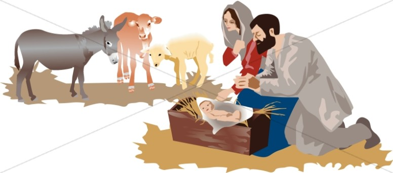 Manger Scene with Animals Manger