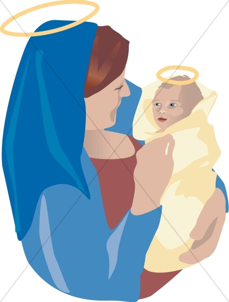 Baby Jesus is Swaddled by Mary