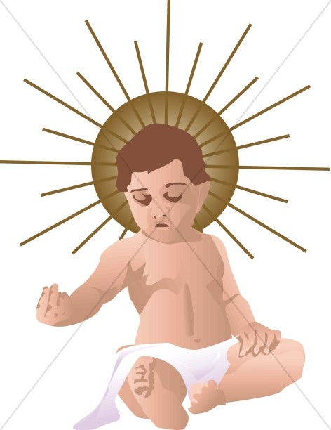 Simple baby jesus in black and white baby jesus clipart