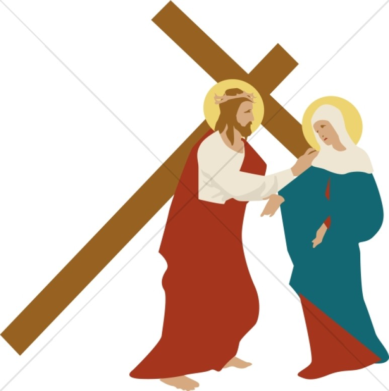 christ consoles mary at the procession to calvary stations of the rh sharefaith com catholic stations of the cross clipart