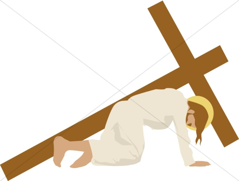 Christ Bends Under Cross