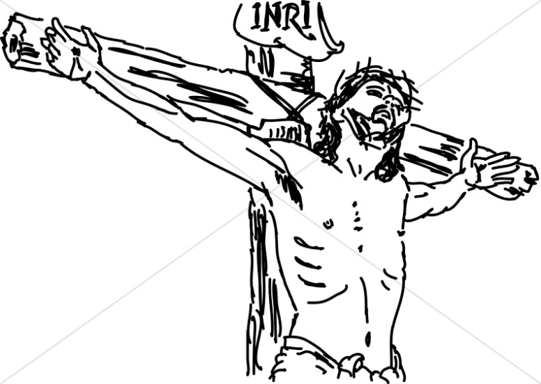 Line Drawn Christ on INRI Cross