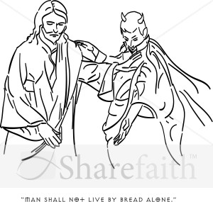 satan tempts jesus with earthly riches temptation of christ clipart