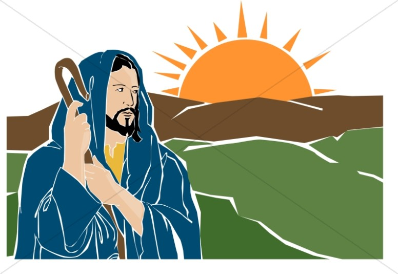 Jesus the Good Shepherd with Sunrise | Jesus Clipart