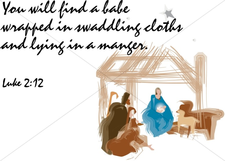 Luke 2:12 with Manger Scene
