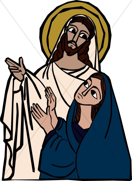 Jesus Shows the Marks in His Hands to Mary