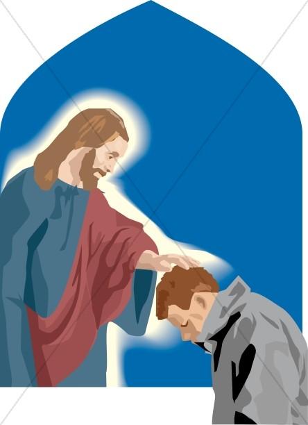 Jesus Touches Praying Man