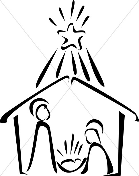 Line Art Nativity : Nativity in black and white with bright star