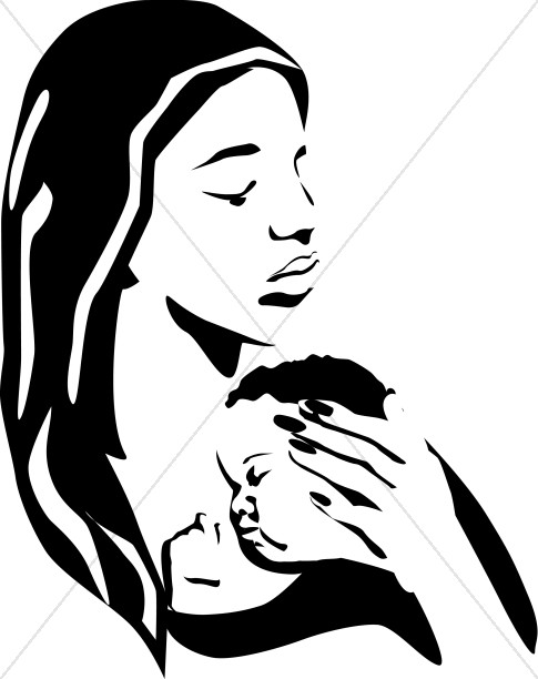 Mother Holding Sleeping Baby BW