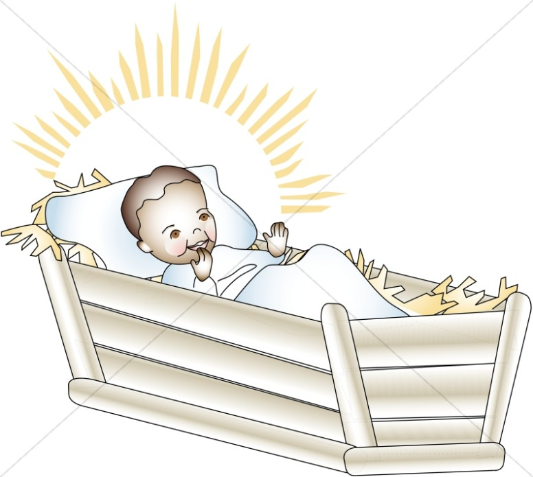 Baby Jesus Lies in the Manger on Christmas Morning