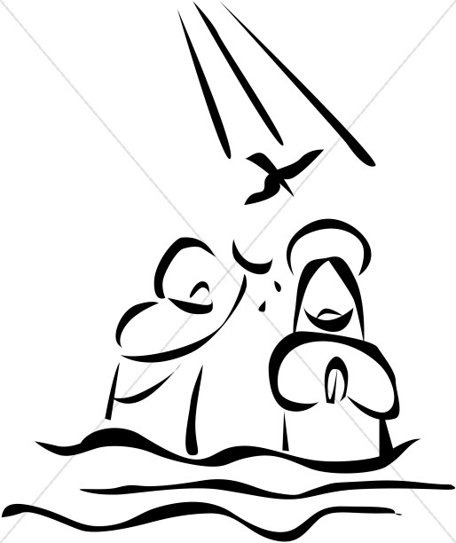 jesus is baptized in the river and is visited by the holy spirit rh sharefaith com Baptism Water Dove Clip Art Baptism Dove Clip Art