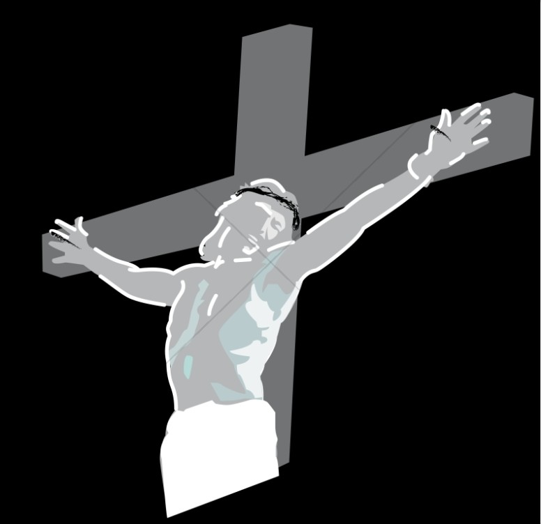 Crucifixion Of Jesus Christ On Black Good Friday Clipart